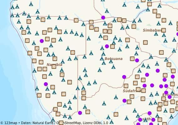 Themenkarten von 123map, Online-Landkarte mit schaltbaren Icons