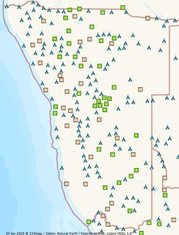 Namibia Camping Landkarte