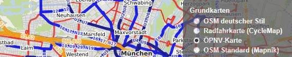 OpenStreetMap Online-Landkarte, ÖPVN-Karte