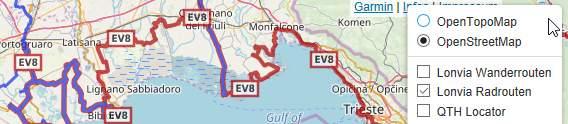 OpenTopoMap Online-Landkarte, mit Radrouten