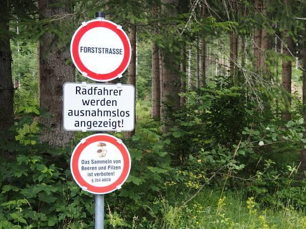 MTB Transalp, Radfahren verboten
