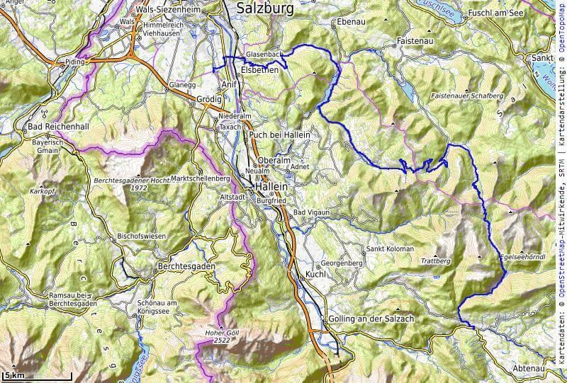 Karte der 1. Etappe Salzburg nach Abtenau vom MTB Transalp Salzburg nach Istrien 2020