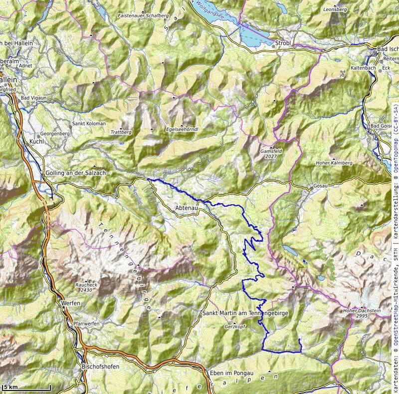 Karte der 2. Etappe Abtenau nach Filzmoos vom MTB Transalp Salzburg nach Istrien 2020