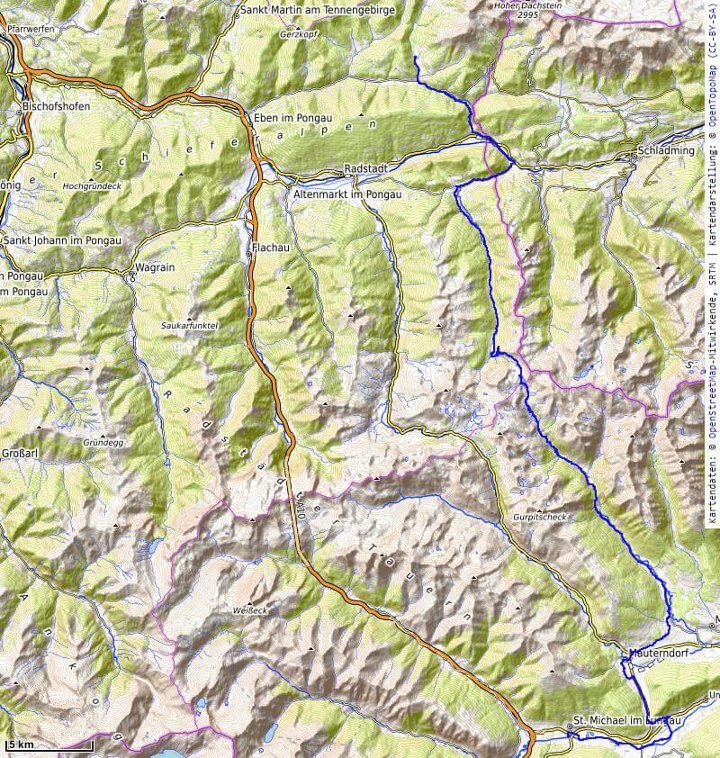 Karte der 3. Etappe Filzmoos nach St. Michael vom MTB Transalp Salzburg nach Istrien 2020