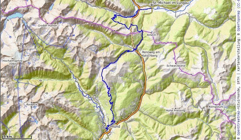 Karte der 4. Etappe St. Michael nach Gmünd vom MTB Transalp Salzburg nach Istrien 2020