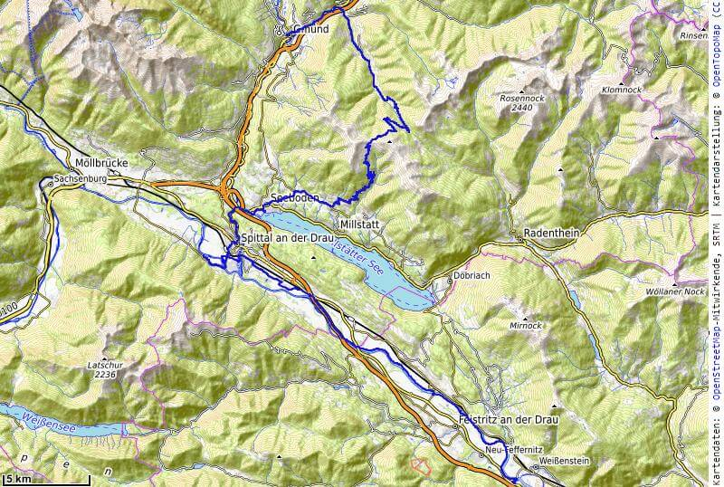 Karte der 5. Etappe Gmünd nach Villach vom MTB Transalp Salzburg nach Istrien 2020