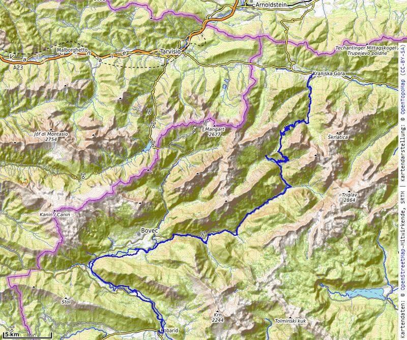 Karte der 7. Etappe Kranjska Gora, Vrsic Pass nach Kobarid vom MTB Transalp Salzburg nach Istrien 2020