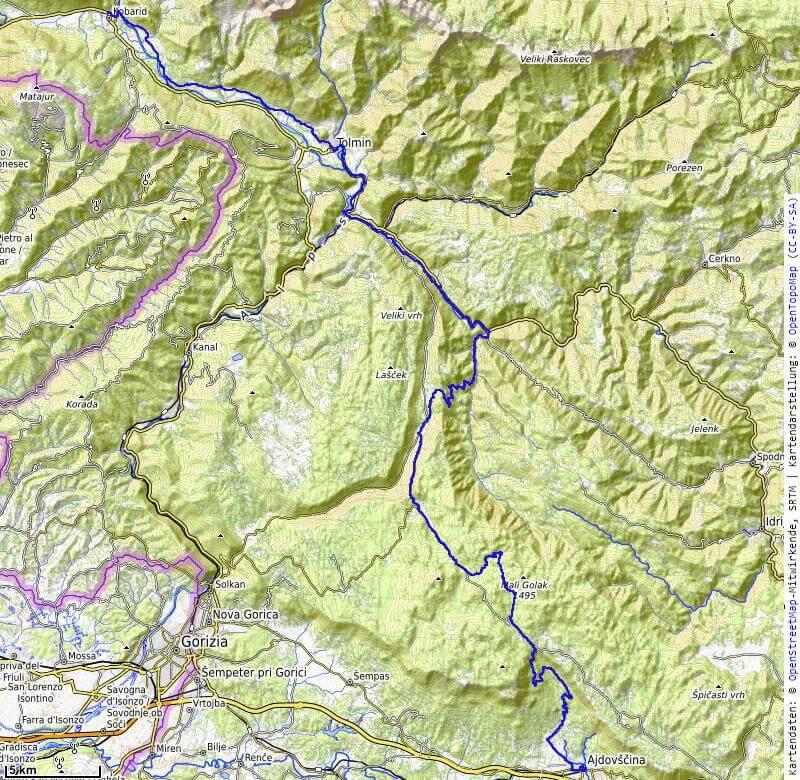 Karte der 8. Etappe Kobarid, Tolmin nach Ajdovscina vom MTB Transalp Salzburg nach Istrien 2020