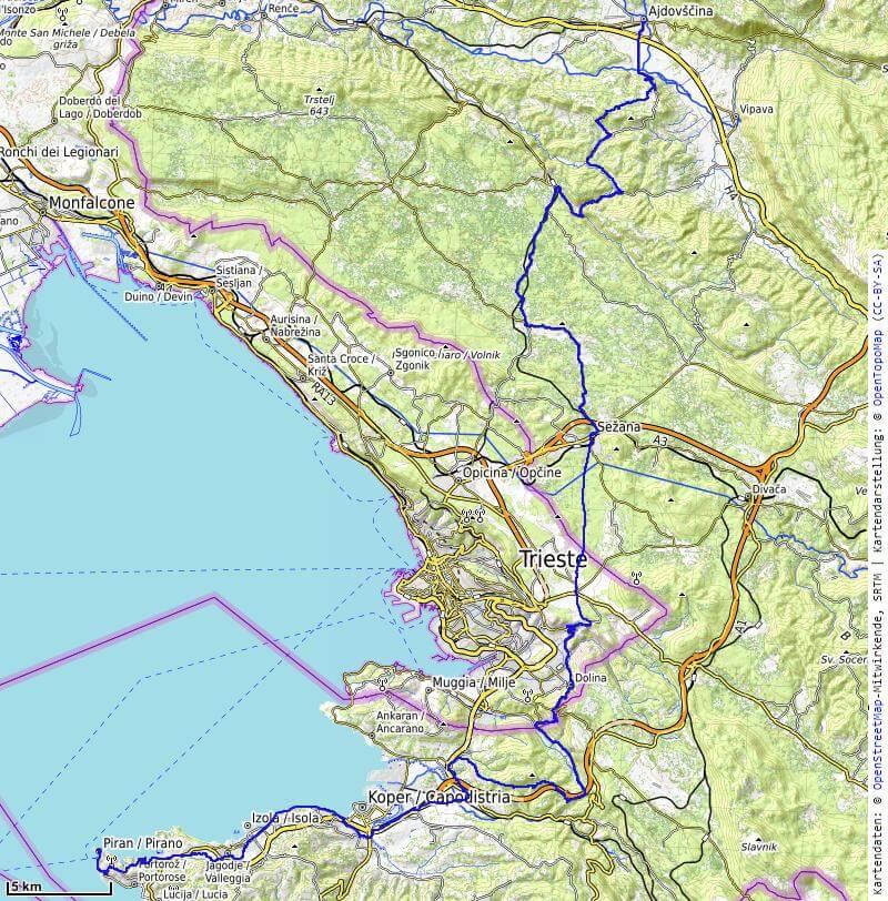 Karte der 9. Etappe Ajdovscina, Sezana nach Piran vom MTB Transalp Salzburg nach Istrien 2020