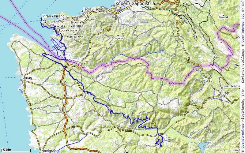 Karte der 10. Etappe Piran, Parenzana nach Motovun vom MTB Transalp Salzburg nach Istrien 2020