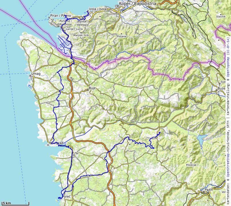 Karte der 11. Etappe Motovun, Porec nach Izola vom MTB Transalp Salzburg nach Istrien 2020