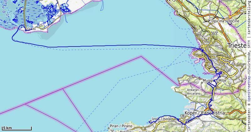 Karte der 12. Etappe Izola, Triest nach Grado vom MTB Transalp Salzburg nach Istrien 2020