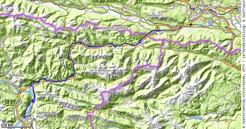 Karte der 14. Etappe Gemona nach Arnoldstein vom MTB Transalp Salzburg nach Istrien 2020