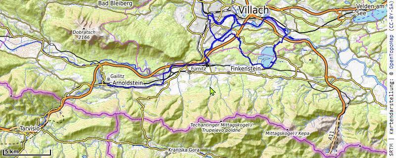 Karte der 15. Etappe Arnoldstein, Faaker See, Villach vom MTB Transalp Salzburg nach Istrien 2020