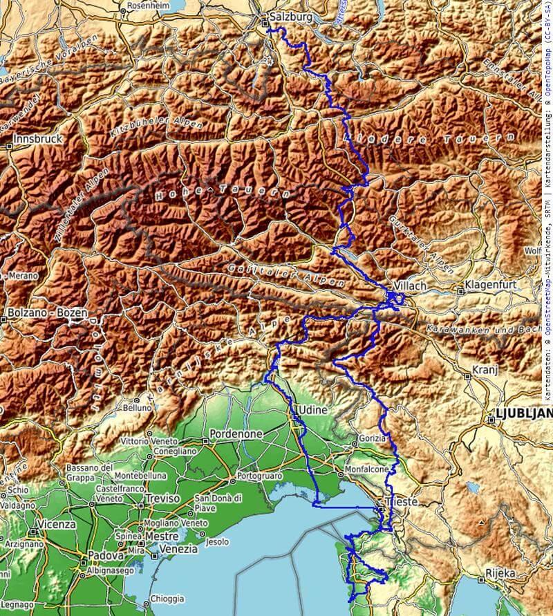 Übersichtskarte der MTB Transalp von Salzburg nach Istrien 2020