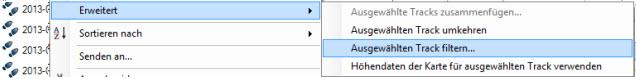 Funktion Filtern in Basecamp zum Glätten von GPX Tracks