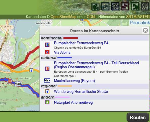 Waymarked Trails mit Download GPX-Datei