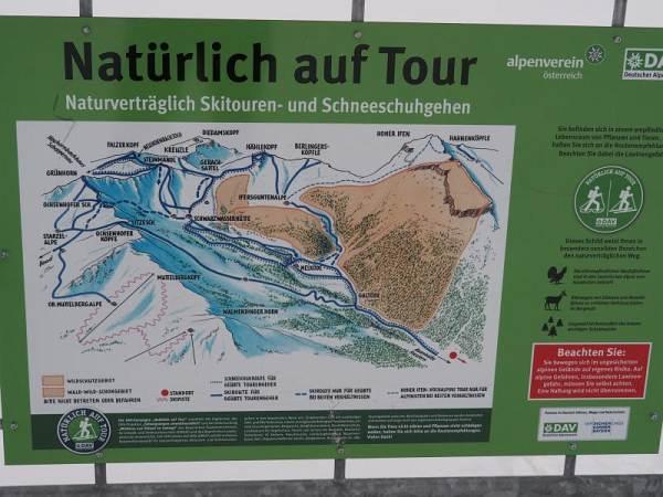 Hählekopf, Schneeschuhwandern in den Allgäuer Alpen, Hinweisschild vom DAV