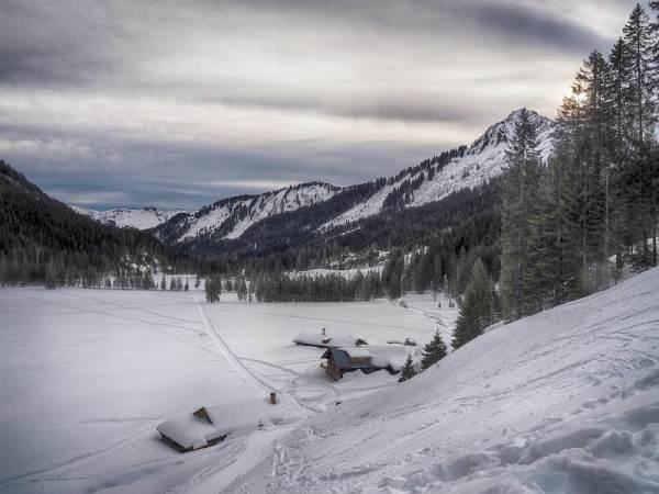 Hählekopf, Schneeschuhwandern in den Allgäuer Alpen, Melköde.