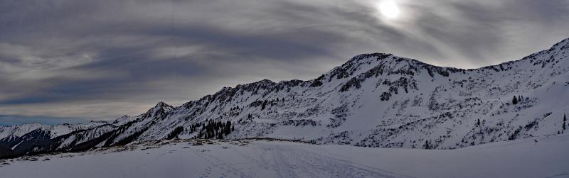 Hählekopf, Schneeschuhwandern in den Allgäuer Alpen, Panoramafoto.