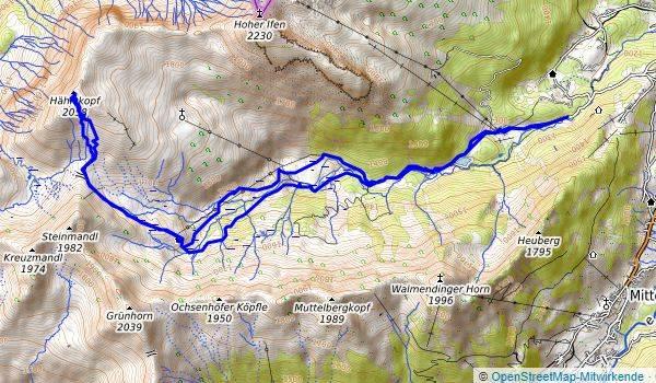 Karte Schneeschuhwanderung Hählekopf