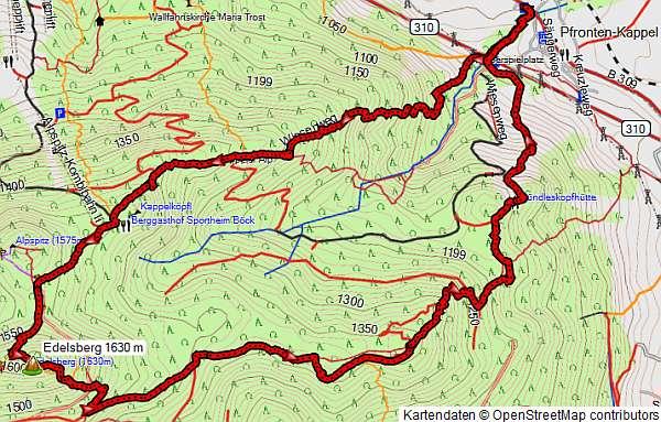 Höhenprofil Schneeschuhwanderung Edelsberg und Alpsitze