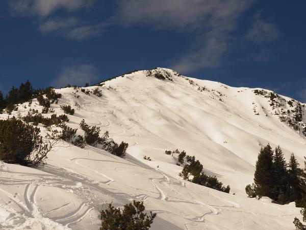 Schneeschuhwanderung Ochsenälpelskopf, Anstieg über den Ostgrat