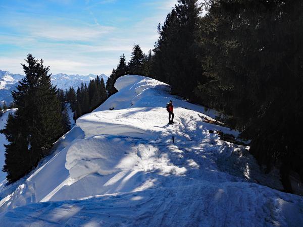 Schneeschuhwanderung zum Rangiswanger Horn bei Gunzesried, Beim Abstieg vom Rangiswanger Horn