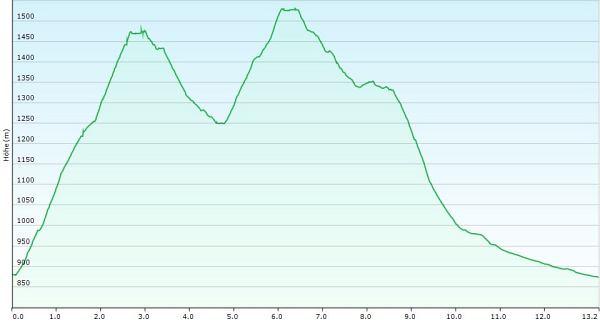 Höhenprofil Schneeschuhwanderung Rangiswanger Horn und Ochsenkopf