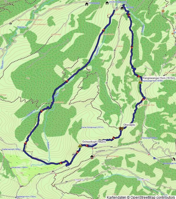 Karte Schneeschuhwanderung Rangiswanger Horn und Ochsenkopf