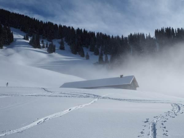 Schneeschuhwandern im Allgäu im Gunzesrieder Tal.