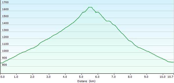 Höhenprofil Schneeschuhwanderung zum Sattel der Scheinbergspitze (Scheinberg)