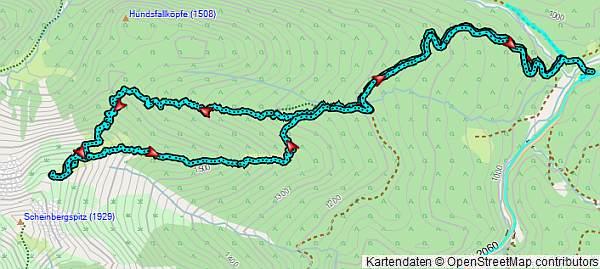 Karte Schneeschuhwanderung zum Sattel der Scheinbergspitze (Scheinberg)
