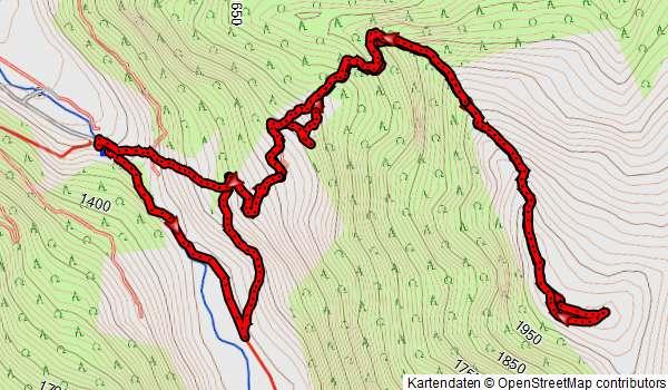 Höhenprofil Schneeschuhwanderung Schönbichel bei Gerlos, Zillertal